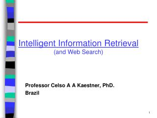 Intelligent Information Retrieval (and Web Search)