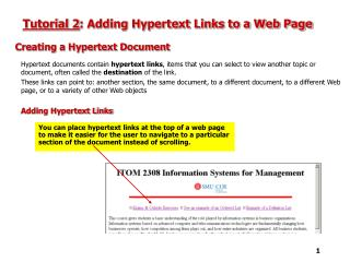 Tutorial 2 : Adding Hypertext Links to a Web Page