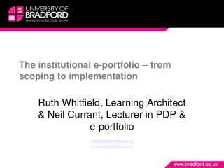 The institutional e-portfolio – from scoping to implementation