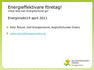 Energieffektivare företag! Vilket stöd kan Energikontoret ge! Energiinsikt14 april 2011