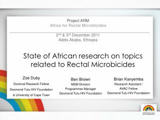 State of African research on topics related to Rectal Microbicides