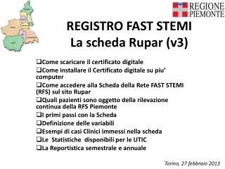 REGISTRO FAST STEMI     La scheda Rupar (v3)