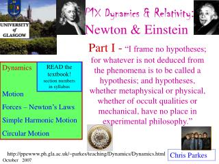 P1X Dynamics & Relativity : Newton & Einstein