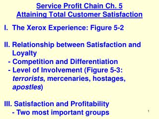 Service Profit Chain Ch. 5 Attaining Total Customer Satisfaction