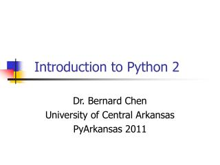 Introduction to Python 2