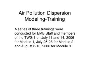 Air Pollution Dispersion Modeling-Training