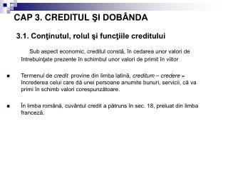 CAP 3. CREDITUL SI DOB NDA