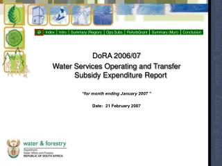DoRA 2006/07  Water Services Operating and Transfer Subsidy Expenditure Report