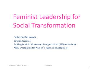 Feminist Leadership for Social Transformation