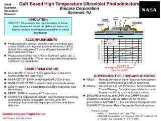 GaN Based High Temperature Ultraviolet Photodetectors Emcore Corporation Somerset, NJ