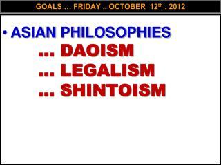 GOALS � FRIDAY .. OCTOBER  12 th  , 2012