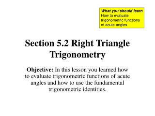 Section 5.2 Right Triangle Trigonometry
