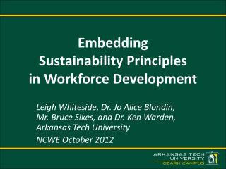 Embedding  Sustainability Principles in Workforce Development