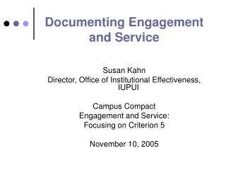 Documenting Engagement and Service