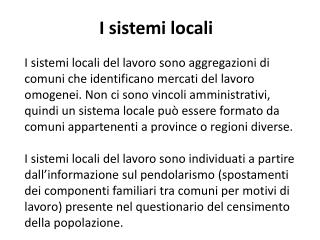 I sistemi locali