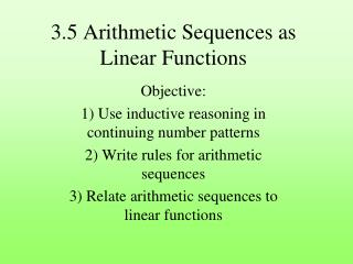 3.5 Arithmetic Sequences as Linear Functions
