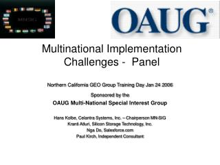 Multinational Implementation Challenges -  Panel
