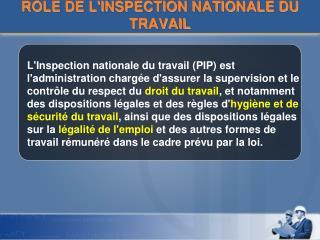 RÔLE DE L'INSPECTION NATIONALE DU TRAVAIL