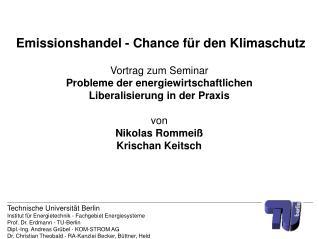 Emissionshandel - Chance für den Klimaschutz Vortrag zum Seminar