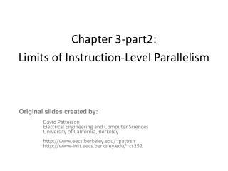 Chapter 3-part2:  Limits of Instruction-Level Parallelism