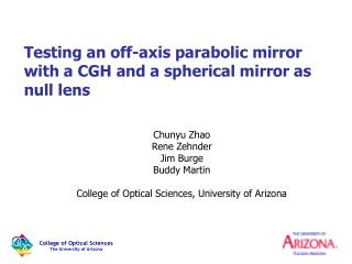 Testing an off-axis parabolic mirror with a CGH and a spherical mirror as null lens