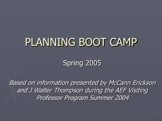 PLANNING BOOT CAMP