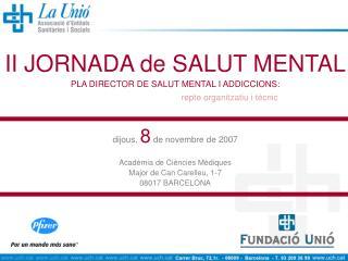 II JORNADA de SALUT MENTAL PLA DIRECTOR DE SALUT MENTAL I ADDICCIONS: repte organitzatiu i tècnic
