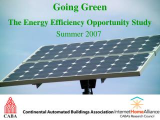 Going Green The Energy Efficiency Opportunity Study