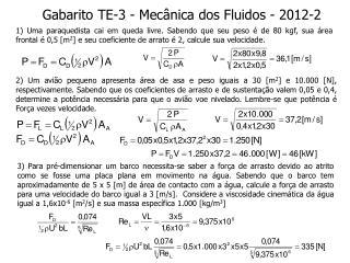 Gabarito TE-3 - Mecânica dos Fluidos - 2012-2