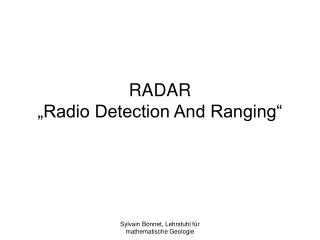 RADAR �Radio Detection And Ranging�