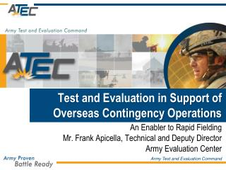 Test and Evaluation in Support of Overseas Contingency Operations