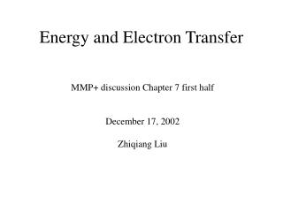 Energy and Electron Transfer