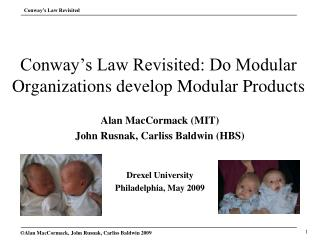 Conway�s Law Revisited: Do Modular Organizations develop Modular Products