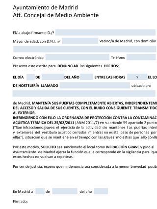 Ayuntamiento de Madrid Att.  Concejal de Medio  Ambiente