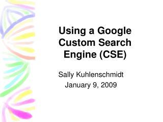 Using a Google Custom Search Engine CSE