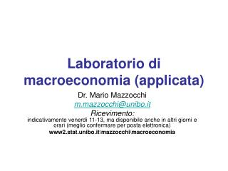 Laboratorio di macroeconomia (applicata)