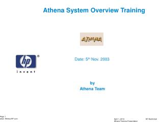Athena System Overview Training