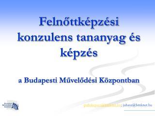 Felnőttképzési konzulens tananyag és képzés a Budapesti Művelődési Központban