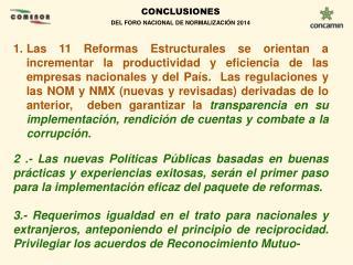 CONCLUSIONES  DEL FORO NACIONAL DE NORMALIZACIÓN 2014