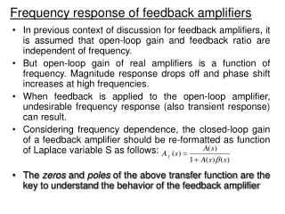 Frequency response of feedback amplifiers