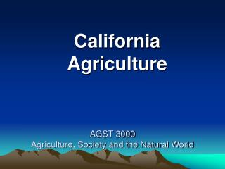 AGST 3000 Agriculture, Society and the Natural World