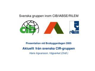 Presentation vid Brobyggardagen 2005 Aktuellt från svenska CIR-gruppen