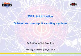 WP4 Gridification Subsystem overlap & existing systems