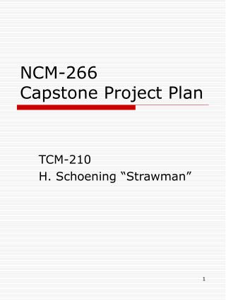 NCM-266 Capstone Project Plan