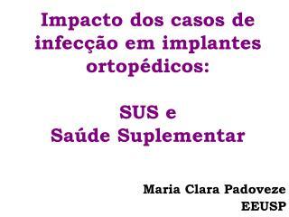 Impacto dos casos de infecção em implantes ortopédicos:  SUS e  Saúde Suplementar