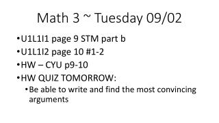 Math 3 ~ Tuesday 09/02
