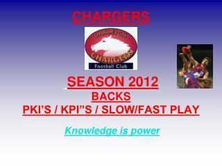 """CHARGERS  SEASON 2012 BACKS PKI'S / KPI""""S / SLOW/FAST PLAY"""