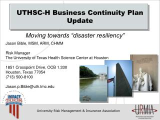 UTHSC-H Business Continuity Plan Update