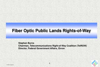 Fiber Optic Public Lands Rights-of-Way