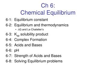 Ch 6: Chemical Equilibrium